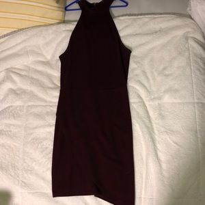 burgundy bodycon high neck dress